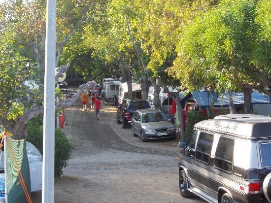 Els Prats Village: Zicht op camping Els Prats vanop het strand