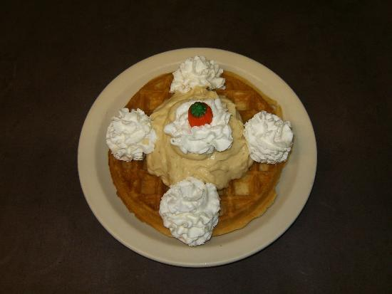Glen Junction: Belgian Waffle With Maple Cream Topping! A Fall Specialty Item!