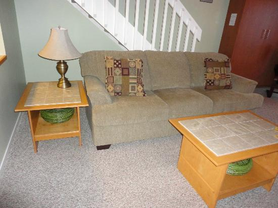Shorewater Resort: Bed chesterfield.  Shows stairs to loft.  Room 206.