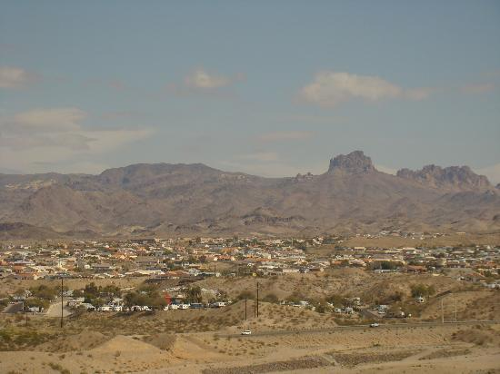 Don Laughlin's Riverside Resort: Looking east from the hotel. Laughlin-Bullhead City Airport is in foreground.