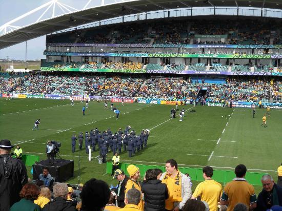 QBE Stadium: A band plays during the lead up to the match