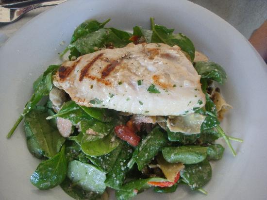 ... Restaurant & Bar: Grilled Greek style Mahi Mahi over spinach with feta