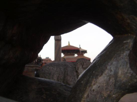 Kathmandu Contemporary Arts Centre: Patan city inside the stone s elephant  from Temple.