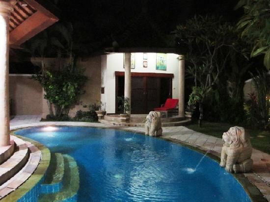 Lazy Dog Villa: Pool at night, bedroom 3 in background