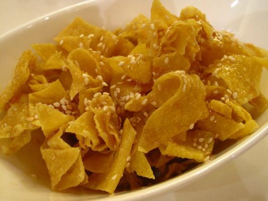 Crispy Wonton Chips with Honey and Toasted Sesame Seeds - Picture of ...