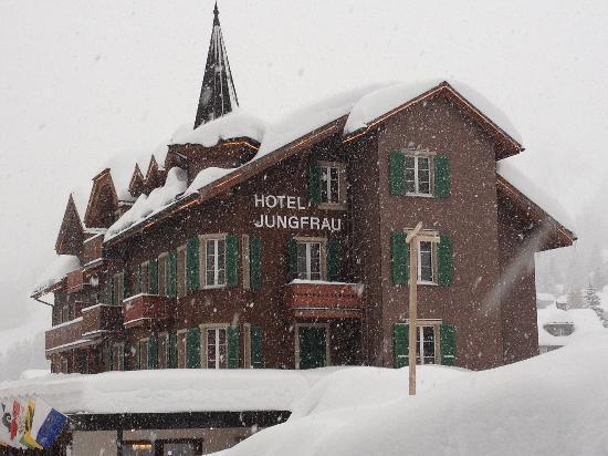 Beautiful Hotel Jungfrau in the snow