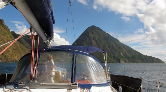 Bateau Mygo Sailing Charters: Gros Piton from shipboard