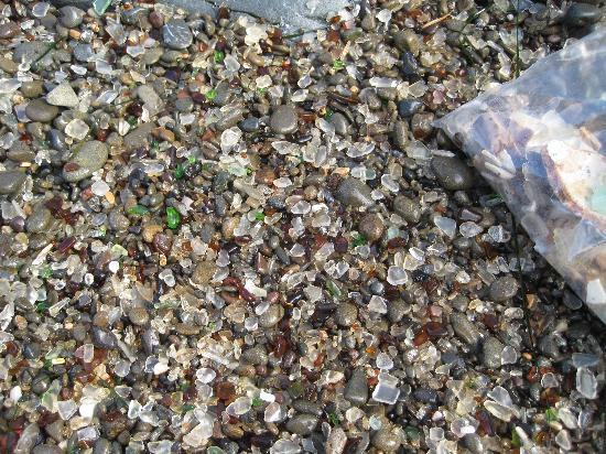 Glass Beach: glass on beach