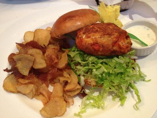 The Capital Grille: Lobster and crabcake sandwich with home made potato chips