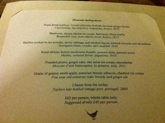 The Pheasant Hotel: standard tasting menu