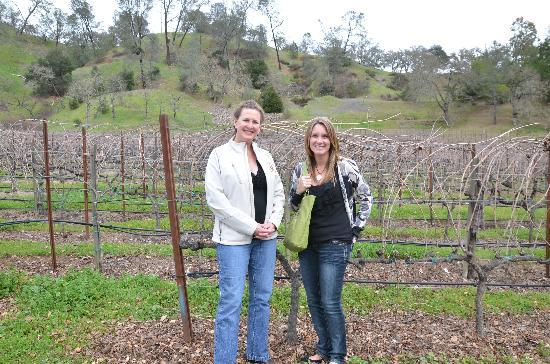Laura Michael Wines - Zahtila Vineyards: Laura and my wife in front of the vineyard