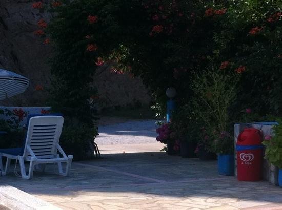 Filia Studios & Apartments: the entrance in/out of the pool area, very pretty