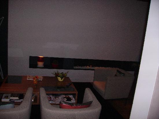 Fred Hotel: zona relax nella reception con caminetto MAGNIFICO sempre acceso