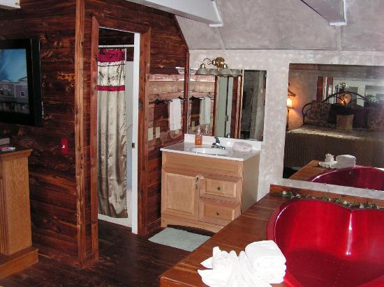 Honeymoon Hills Cabin Rentals: jacuzzi and bath area