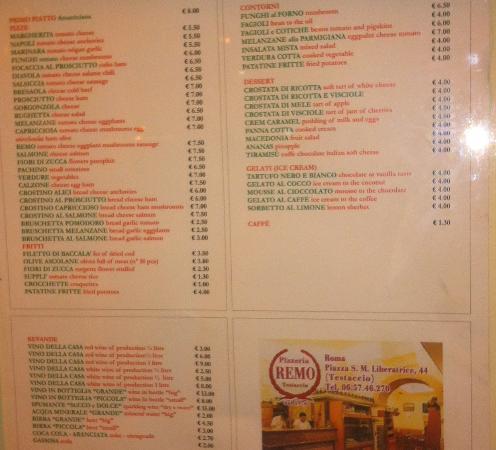 Pizzeria da Remo: Il menù