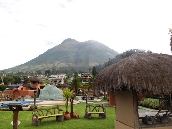 Hosteria Cabanas del Lago : View of cabins and volcano