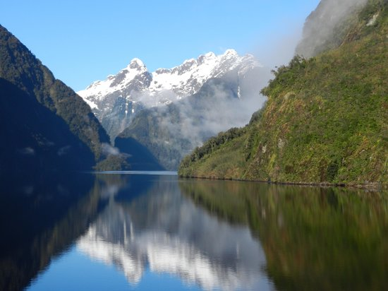 Te Anau, New Zealand: Morning reflections in Doubtful Sound.
