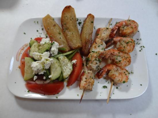 Mezes Wine Bar & Greek Kitchen : Kalamakia-marinated chicken and shrimp skewers