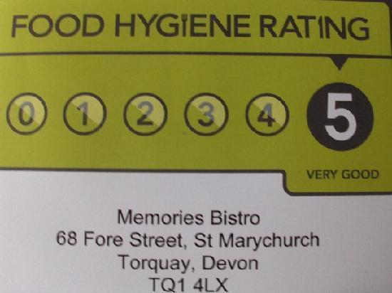 Memories Bistro: Top marks in hygiene
