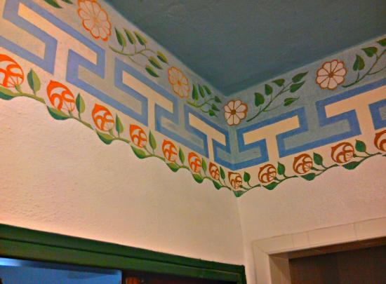 The Hacienda: Bathroom ceiling with original Julia Morgan trim restored