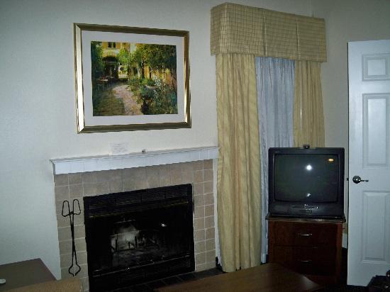 Sonesta ES Suites Burlington: Living Room area with Fireplace
