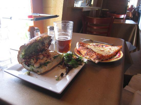 Pizza N Cream: tasty chicken pesto sandwich and pizza