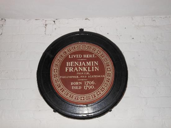 Benjamin Franklin House: The historical plaque that was put on the wrong house....
