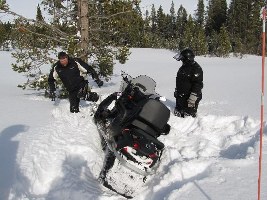 Yellowstone Adventures: If you fail to complete a turn, your guide will help get you out (not my snowmobile)