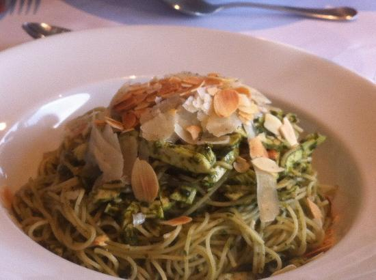 Studio Caf: pesto angel hair pasta with chicken anchovies and almonds