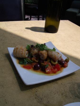 Go Vino: Calamari - pan seared – with a warm olive, tomato and sweet chilli salsa