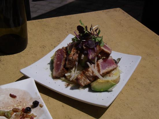 Go Vino: Tuna - Cajun spiced – with new potatoes, avocado, fennel and mustard seed dressing