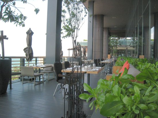 Some of the outdoor seating at the Edge restaurant