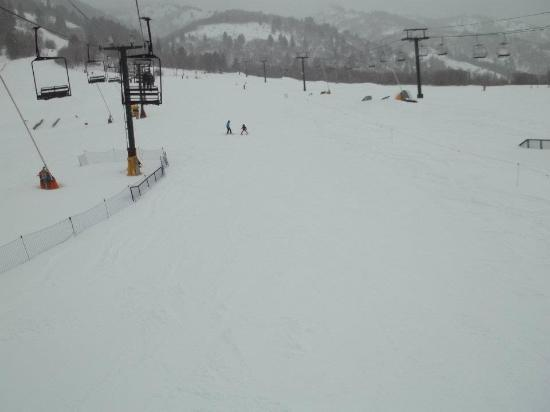 Nordic Valley Ski Resort: Ms. Lisa, one of the ski instructors, coming down the mountain with my daughter. Best teachers a