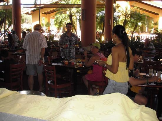 Allegro Papagayo: The buffet area, watch out for the birds!