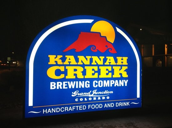 Kannah Creek Brewing Company: The new logo, lit of for the first time.