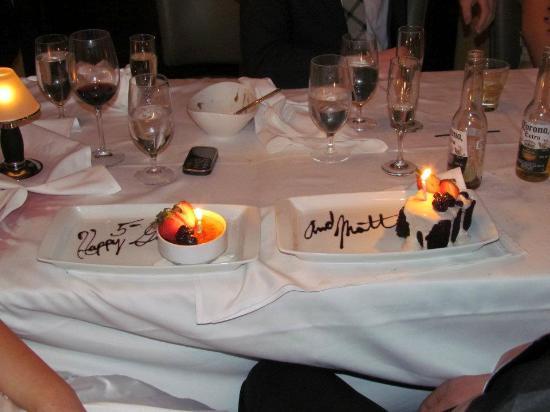 Milwaukee ChopHouse: Our surprise anniversary dessert.  Mmmm!