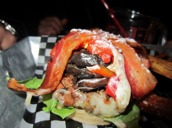 The Works Gourmet Burger Bistro: one of many burgers we tried, yum