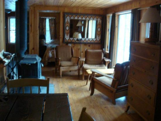 Camp Driftwood: Cabin interior; fireplace on the left, kitchen in the back-left, queen bedroom in the back; porc