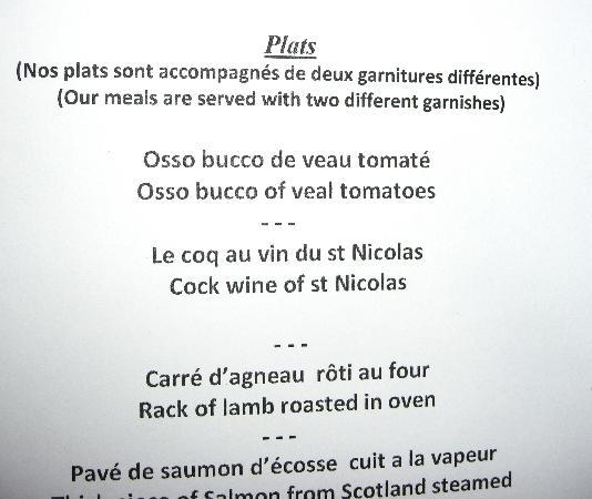 Au Coin du Feu: hotel menu (1)