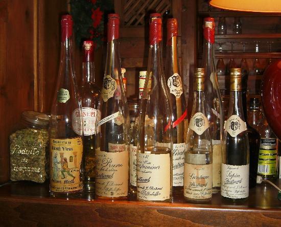 Au Coin du Feu: Selection of schnapps at the Coin du Feu