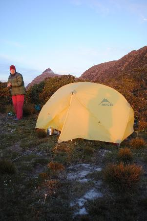 Tasmanian Wilderness Experiences - Base Camp Tasmania: Our tent on high