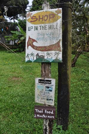 Up in the Hill - Coffee Shop & Organic Farm: signs pointing the way