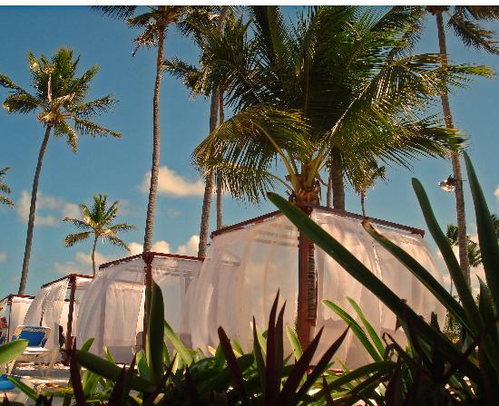 Dreams Palm Beach Punta Cana: Lounging daybeds on beach
