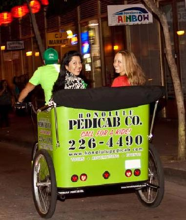 Honolulu Pedicab & Tours: Cruising Hotel Street on Honolulu Pedicab.