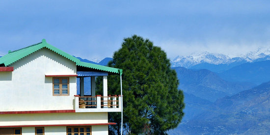 New Tehri, India: The Lodge with the Himalayas in the Background