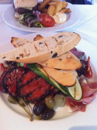 Wookey Hole Inn : Lunch - Antipasto plate of meats, etc with olive bread!