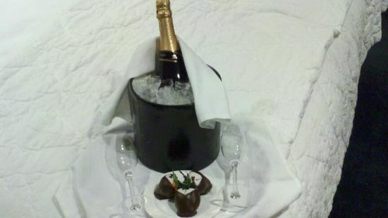 Cincinnatian Hotel: Complimentary celebratory champagne and chocolate-covered strawberries delivered to the room