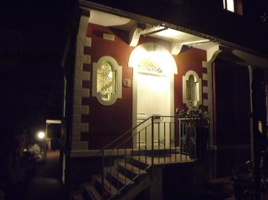 Villa Angelica front door at night.
