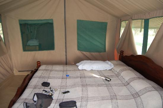 Whistling Thorn Tented Camp: our tent with shower and toilet at the back area.