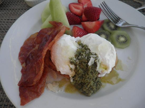 Chateau de Vie: poached eggs over toast, pesto, proscuitto
